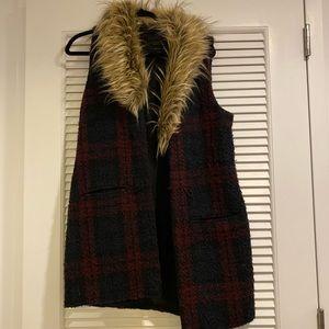 Sanctuary plaid fur vest